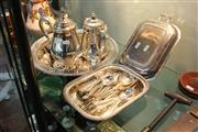 Sale 8360 - Lot 174 - Silver Plated Teawares With Other Plated Wares Incl Cutlery