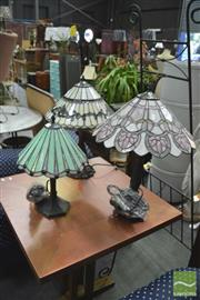 Sale 8406 - Lot 1155 - Three Leadlight Shade Table Lamps