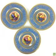 Sale 8649R - Lot 164 - Set of Three Exquisite George Jones & Sons Plates with Gilt Detail and Central Fruit Motif (Dia: 23cm)