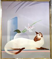 Sale 8794 - Lot 2015 - N. Woodville - Still Life - Cat and Vase acrylic on canvas, 70 x 60cm (frame), signed lower right