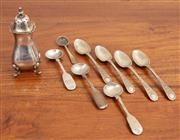 Sale 8868H - Lot 100 - A small group of silver to include a pepper pot (Height 9cm), four matching coffee spoons, three mustard spoons and a salt spoon, va...