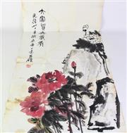 Sale 8887 - Lot 28 - A Chinese Floral Painting Enclosed in an Envelope, L95cm x W44cm