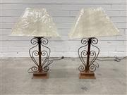 Sale 9063 - Lot 1075 - Pair of Rustic Scrolled Iron Table Lamps (H:63cm)