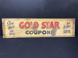 Sale 9188 - Lot 1034 - Vintage timber hand painted GOLD STAR COUPONS sign (h:25 x w:95cm)