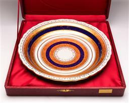Sale 9122 - Lot 144 - Kutahya Porcelain Blue and Gold Contoured Cased Charger (Dia:36cm)