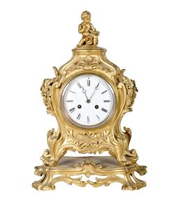 Sale 9123J - Lot 161 - Antique French gilt bronze rococo style mantle clock on fixed scroll base with key and pendulum, the movement stamped Blot & Drouar...