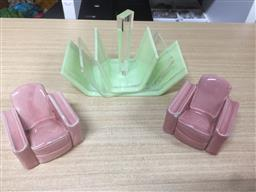 Sale 9152 - Lot 2559 - A pair of miniature ceramic lounge chairs (slight chips) together with an art deco card holder (W 16cm)