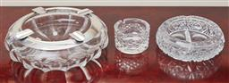 Sale 9099 - Lot 265 - A group of three heavy crystal ashtrays including a 925 silver bound example, Diameter 24cm, Waterford, and another, all with damages