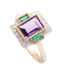 Sale 9253J - Lot 454 - A DECO STYLE AMETHYST EMERALD AND DIAMOND RING; set in 9ct gold with a baguette cut amethyst to 16 round brilliant cut diamond surro...