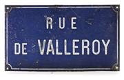 Sale 8202A - Lot 33 - An old French enamel street sign 'Rue de Valleroy', 25 x 44 cm, some wear to edges