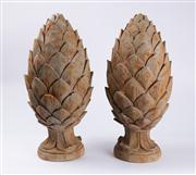 Sale 8379A - Lot 36 - A pair of composite artichoke form finials, each height 50cm.