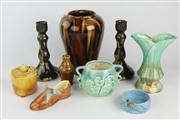 Sale 8445 - Lot 23 - Bendigo Pottery Vase with Other Studio Pottery incl. Daisy Ware Candlesticks