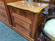 Sale 8465 - Lot 1050 - Pair of Timber Bedsides with Three Drawers