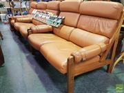 Sale 8495F - Lot 1044 - Timber Framed Three Piece Lounge Setting incl. Pair of Two Seaters & Armchair