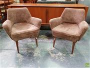 Sale 8607 - Lot 1093 - Pair of Vintage Upholstered Lounge Chairs on Turned Legs