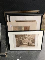 Sale 8754 - Lot 2059 - 6 Works: Engraving after Claude & 2 Etchings, Hardy Print, etc