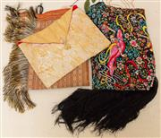 Sale 8882H - Lot 98 - A tasselled table cloth, piano shawl and an oriental fabric cushion cover