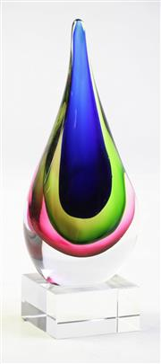 Sale 8997 - Lot 88 - Art Glass Teardrop Sculpture (height incl. stand 20cm)