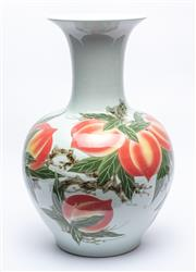 Sale 9070H - Lot 98 - Large ceramic vase decorated with peaches and showing painted Chinese character marks to body, height 55cm