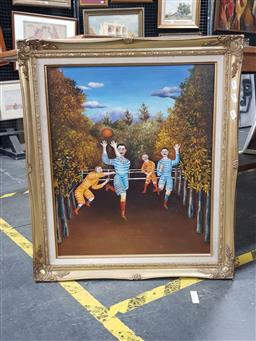 Sale 9127 - Lot 2090 - Artist Unknown The Football Players, after Henri Rousseau, oil on canvas, frame: 75 x 64 cm -