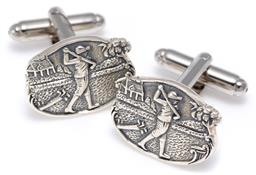 Sale 9156J - Lot 374 - A PAIR OF SILVER GOLF THEMED CUFFLINKS; each a 19.5 x 15.5mm plaque to spring bar backs, wt. 9.96g.