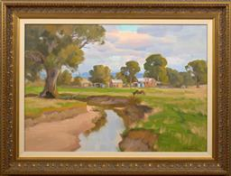 Sale 9150J - Lot 70 - ERNEST BUCKMASTER (1897 - 1968) Rural Landscape oil on canvas 53 x 76 cm signed lower right