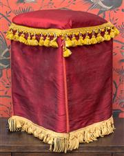 Sale 8222 - Lot 85 - A rush top stool, with burgundy padded seat and gilt tassel embellishments, ex Moulin Rouge, H 54, W 38