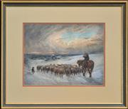 Sale 8294 - Lot 582 - William Young (active c1906 - 1940) - Steady Goes the Winter Herd 25.5 x 33.5cm