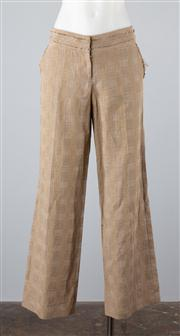 Sale 8685F - Lot 83 - A pair of Lisa Ho cotton/linen plaid pants with raw finishes, size AUS 8