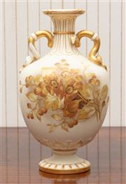 Sale 8881H - Lot 66 - A Royal Worcester ivory vase painted with dog roses and serpentine handles. Height 23cm