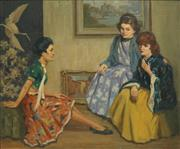 Sale 8870A - Lot 515 - Henry Hanke (1901 - 1989) - The Counsellors 49.5 x 59.5 cm
