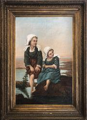 Sale 8912H - Lot 67 - Circle of the Hauge School (Netherlands 1860-1890) - Two girls resting (Circa 1870) 78 x 51.5cm