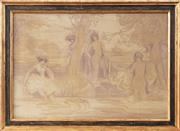 Sale 9021 - Lot 541 - Charles Conder (1868 - 1909) - Figural Group 71 x 105 cm (frame: 88 x 121 x 4 cm)