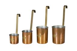 Sale 9123J - Lot 163 - A set of 4 graduated sized vintage French copper and brass measures. Approx. 29 cm tall