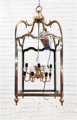 Sale 9142 - Lot 1039 - Large Square Brass Lantern, with scrolled supports, the taering sides with glass panels (missing one pane), having two tiers of 12 l...