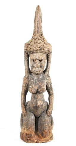 Sale 9156 - Lot 256 - Carved cultural figure with bird to top H: 70cm