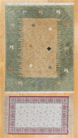 Sale 9165H - Lot 141 - A Decor NZ wool gabbeh rug with geometric design 147x120cm together with another.
