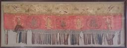 Sale 9179 - Lot 1065 - Antique Chinese Silk Banner, with Fuk, Suk & Lao and their three good wishes, in a modern glass frame (169.5 x 66cm)