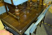 Sale 7987A - Lot 1095 - Dining Table on Stretcher Base with 6 Chairs in 2 Carvers