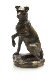 Sale 8202A - Lot 35 - An antique French cast bronze figure of seated dog, H 13cm