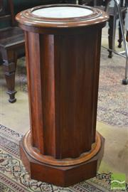 Sale 8267 - Lot 1061 - Victorian Mahogany Pedestal Style Bedside Cabinet, with marble panel top, fluted body & single door.