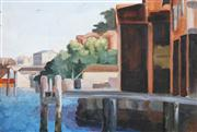 Sale 8526 - Lot 526 - Attributed to Roland Wakelin (1887 - 1971) - Sydney Wharf (Study) 39.5 x 57cm