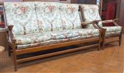 Sale 8515A - Lot 97 - A retro Cintique three piece suite with floral upholstery comprising a three seater and two armchairs