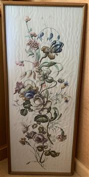 Sale 8510A - Lot 25 - A framed printed, floral fabric panel depicting blooms, 93cm x 40cm