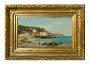 Sale 8888H - Lot 8 - Italian 19th Century Fishermen signed lower left oil on panel 23 x 35 cm in fine gilt frame.