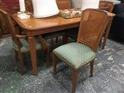 Sale 8889 - Lot 1432 - Timber Extension Dining Table With Six Rattan Dinning Chairs