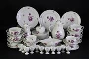 Sale 8935 - Lot 56 - A Nymphenburg part dinner service with purple floral motif mostly for 12