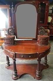 Sale 8956 - Lot 1030 - Victorian Mahogany Demi Lune Mirrored Back Dressing Table with carved supports and five drawers - small losses to veneer (H:158 x W:...