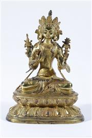 Sale 9015 - Lot 47 - A Gilded Bronze Chinese Seated Buddha Figure (H:34cm)