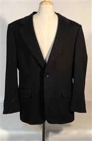 Sale 9080F - Lot 74 - A MACYS CAMEL HAIR BLAZER IN BLACK, with two flap pockets to front, three internal pockets and a patch pocket, Size XL
